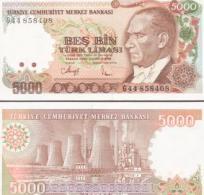 Turkey #198, 5.000 Lira, L.1970 (ca.1992), UNC - Türkei