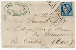 N°60a  Variete BARAT-SUARNET N°11  PERLE JNFERIEURE AVEC CROCHET- Sur Lettre - 1871-1875 Ceres