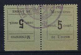 Italy: EMISSIONI LOCALI 1918 UDINE TETE-BECHE ORIZZONT. COPPIA ANNULLATA - Udine