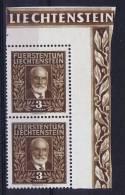 Liechtenstein: 1940 Mi 191 MNH/** Cornerblock