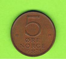 NORUEGA - NORWAY -  5 Ore 1974  KM415 -  Leon Con Hacha /  Leon With Ax - Noruega