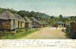 Village Typique De Puerto Rico. Carte Colorisée Légèrement Tachée, Coins Abimés. - Puerto Rico