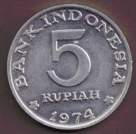 INDONESIA 5 RUPIAH 1974 FAMILY PLANNING PROGRAM - Indonésie