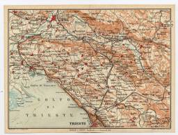 GORIZIA GRADISCA MONFALCONE TRIESTE  SESANA  DUINO    Etc.  E Dintorni   Friuli      Piantina 1:100.000 Anno 1920 - Europe