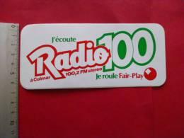 Autocollant Publicite  RADIO    100 à COLMAR  FM.....alsace Rhin - Stickers