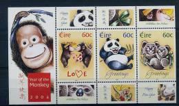 Lot 83 - B 11 - Irlande** Bloc N° 52 - Timbres De Vœux Et Année Lunaire Du Singe  (singe, Panda, Koalas) - Blocs-feuillets