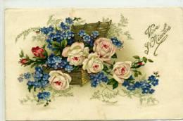 VIVE SAINT NICOLAS - Bouquet De Rose Et Miosotis Dans Un Panier - Prénoms