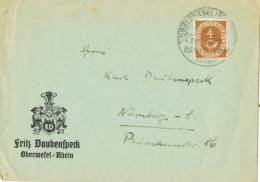 3245. Carta OBERWESEL (Alemania) 1953. Zona Anglo Americana - Zona Anglo-Américan