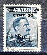 Rodi, Isole Dell'Egeo 1916 N. 8 C. 20 Su C. 15 Grigio Nero USATO Cat. € 250 - Aegean (Rodi)