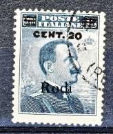 Rodi, Isole Dell'Egeo 1916 N. 8 C. 20 Su C. 15 Grigio Nero USATO - Aegean (Rodi)