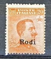 Rodi, Isole Dell'Egeo 1917 N. 10 C. 20 Arancio SENZA Filigrana MNH Cat. € 875 - Aegean (Rodi)