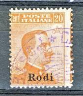 Rodi, Isole Dell'Egeo 1921-22 N. 12 C. 20 Arancio CON FILIGRANA USATO Cat. € 25 - Aegean (Rodi)