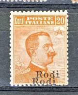 Rodi, Isole Dell'Egeo 1922-23 N. 12 X. 20 Arancio Con Filigrana MNH - VARIETA' DOPPIA SOPRASTAMPA Cat. € 130 - Aegean (Rodi)