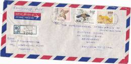 Registered PETTAH Air Mail SRI LANKA COVER Stamps BIRD BUTTERFLY  CIVET Birds Butterflies Insect - Sri Lanka (Ceylon) (1948-...)