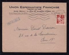 "FRANCE - Enveloppe Entete "" Union Esperantiste Française ""  / 1958 - Esperanto"