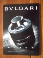 Bulgari Black Homme Parfum Avec Patch Carte Postale Edition Max Racks USA - Perfume Cards