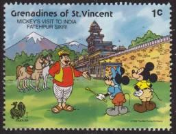 Granadinas St Vincent 1989 Scott 623 Sello ** Walt Disney Minnie & Mickey's Visit To India Fatehpur Sikri 1c Grenada - Disney