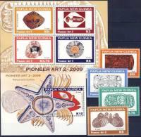 #Q857. Papua New Guinea 2009. Pioneer Art (2). D. Lasisi. Drawings. Michel 1400-03 + Bl. 79-80. MNH(**) - Papua New Guinea