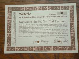 Lotterie GUTSCHEIN Für Fr. 5.- ( Fünf Franken ) Stadt ZÜRICH ( UNC - 2 Pcs. / Voir Photo Pour Détail ) 1933 ! - Switzerland