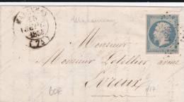1854 - SEINE MARITIME - EMPIRE - LETTRE De MALAUNAY (PC 1846) + CACHET T14 Pour EVREUX - IND 17 (200 EUROS) - Postmark Collection (Covers)