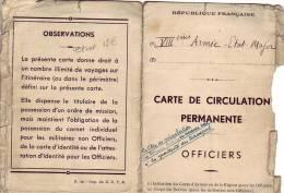 CARTE  DE  CIRCULATION   PERMANENTE - Documentos