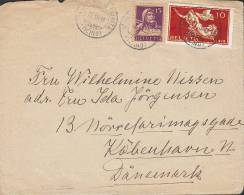 Switzerland MONTI DEL LA TRINITA 1919 Cover Brief Lettre (front Only) To Denmark Tell & Peace Issues - Lettres & Documents