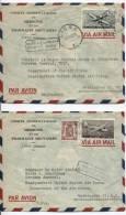 TPA 28-29-715 S/2 L.Avion Obl.Liège Du 13/11/1952&30.10.1952 Griffe Bilingue Trouvé à La Boîte V.USA AP398 - Marcophilie
