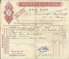 BRUXELLES PAPETERIE NIAS  ELIE NIAS  Fabrique De Registres    25.07.1919 - Printing & Stationeries