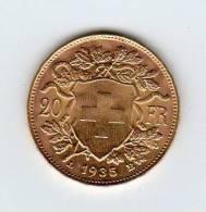 20 FRANCS OR  SUISSE 1935 - Monnaies