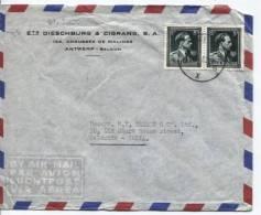 TP 696(2) Léopold Col Ouvert S/L.Avion Obl.Antwerpen(GXG) Du 14.8.1953 V.Calcutta Inde AP408 - Marcophilie