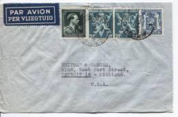 TP 696 Léopold Col Ouvert-684A-426 S/L.Avion Obl.Forest(BXL) 28.5.1946 V.Detroit USA AP410 - Marcophilie