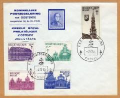 Enveloppe Koninklijke Postzegelkring Oostende Cercle Philatélique Ostende Reproduction NR 2 1354 à 1358 Knokke - Belgique