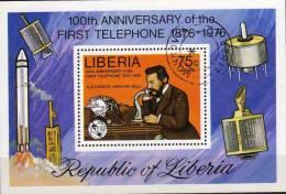 Telefon 1976 Satellit Rakete Liberia Block 81 O 2€ Erfinder Bell Am Telefonapparat Fogli Bf History Bloc Sheet Of Africa - Telecom