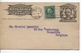 Entier CP 1 Centavo + TP Obl.Habana-Cuba Du 12.10.1928 V.Bruxelles AP420 - Cuba