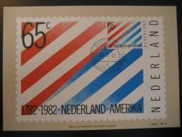 Groningen 1982 Netherlands Holland USA Flag Flags Maxi Maximum Card - Briefe