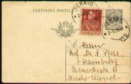 ITALIA 1926 - Reply Part Of A Postal Card From Merano / Trento To Hamburg, Germany - 1900-44 Victor Emmanuel III