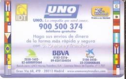 TARJETA DE ESPAÑA DE IDT UNO  FECHA CADUCIDAD 08/04  BANDERAS:ECUADOR,BRASIL, URUGUAY, ARGENTINA ETC. - España