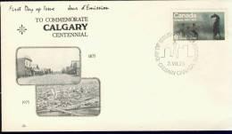 SF14 CANADA 1975 FDC MI 600 100th ANNI CITY OF CALGARY. - Omslagen Van De Eerste Dagen (FDC)