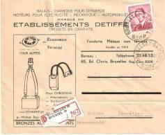 Etablissements Detiffe  Avec Recommandé 1956 - Entiers Postaux