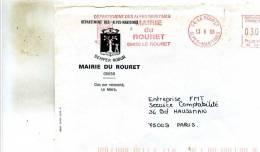 Enveloppe Obliteration Mecanique ( Flammes) Avec Ecusson De La Mairie Du Rouret  06 A Entreprise FMT A Paris 75 - Marcophilie (Lettres)