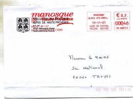 Enveloppe Obliteration Mecanique ( Flammes) Avec Ecusson De La Ville De Manosque 04 A Mr Le Maire A Troyes 10 - Marcophilie (Lettres)