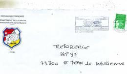 Enveloppe Obliteration Mecanique ( Flammes) Avec Ecusson De La Commune De St-Avre 73 A Tresorerie A St-Jean De Maurienne - Marcophilie (Lettres)