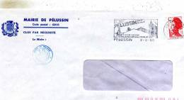 Enveloppe Obliteration Mecanique ( Flammes) Avec Ecusson De La Mairie De Pelussin  42 - Marcophilie (Lettres)