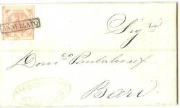 LPP12 - ITALIE ANCIENS ETATS - NAPLES 2G TAVOLA I SUR LETTRE COMMERCIALE NAPOLI / BARI OCTOBRE 1859 - Naples