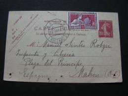 == France, Karte 1925 Espagne Mahon - Not Perfect Mängel - Frankreich