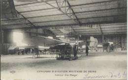 Concours D'aviation Militaire De REIMS - Intérieur Du Hangar - Avions