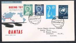 QANTAS FIRST FLIGHT 707 JET AIRLINER (BANGKOK)THAILAND-SYDNEY 1959 - First Flight Covers