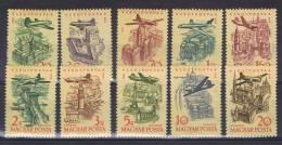 HG 23 - HONGRIE PA N° 213 à 222 Neufs** Série Avion Survolant Budapest