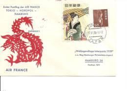 Japon ( Lettre En Premier Vol Tokyo-Hambourg De 1959 à Voir) - Briefe U. Dokumente