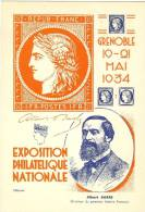 LPP12 - FRANCE - EP CP SEMEUSE CAMEE 20c TSC EXPO. PHIL. GRENOBLE 1934 BARRE ET CERES  VERMILLON ET CARMIN NEUVES - Ganzsachen